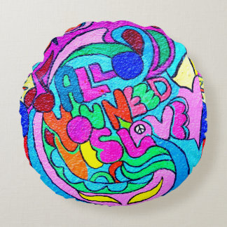 colorful groovy peace and love round pillow