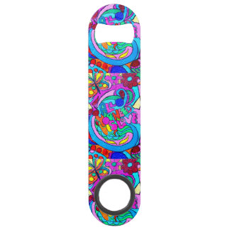 colorful groovy peace and love speed bottle opener