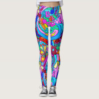 colorful groovy psychedelic love leggings