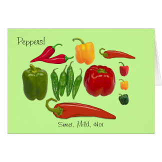 Colorful Group of Sweet Mild and Hot Peppers Card