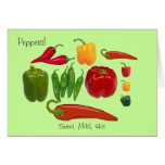 Colorful Group of Sweet Mild and Hot Peppers Cards