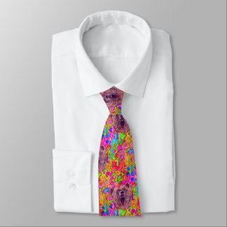 Colorful Growling Bear Tie