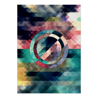 Colorful Grunge Geometric Abstract Poster