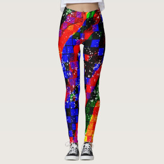 Colorful Grunge Geometric Stripe Leggings