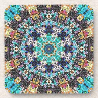 Colorful Grunge Mandala Beverage Coaster