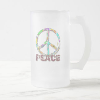 COLORFUL GRUNGE STYLE PEACE SIGN FROSTED GLASS BEER MUG