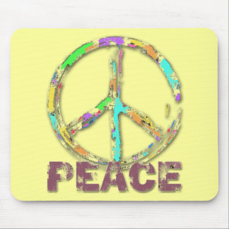 COLORFUL GRUNGE STYLE PEACE SIGN MOUSE PAD