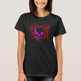 Colorful grunge style skull with floral background T-Shirt