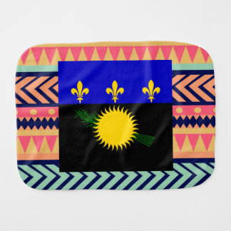 Colorful Guadeloupe Flag Box Baby Burp Cloths