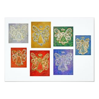 Colorful Guardian Angel Art Custom Invitations