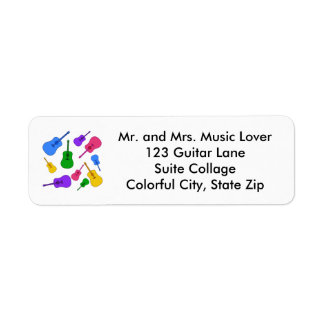 Colorful Guitar Collage in Colors Address Labels