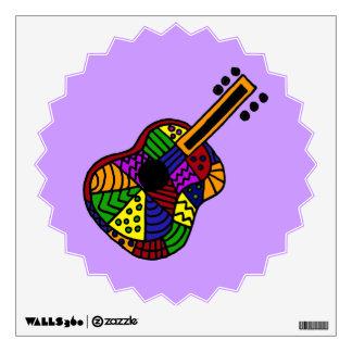 Colorful Guitar Folk Art Wall Decal