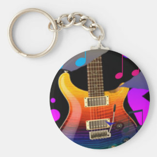 Colorful Guitar - Rock On! Basic Round Button Keychain