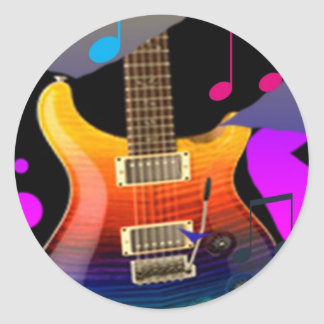 Colorful Guitar - Rock On! Classic Round Sticker