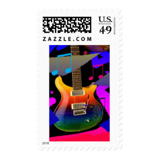 Colorful Guitar - Rock On! Postage Stamp