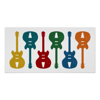 Colorful Guitars Poster