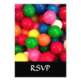 Colorful Gum Ball Candy Invitation