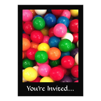 Colorful Gum Ball Candy Personalized Invitation