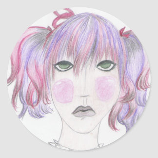 colorful hair classic round sticker