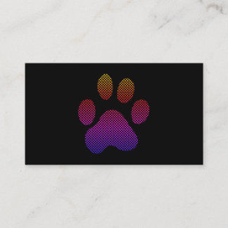Colorful Halftone Dog Paw Business Card