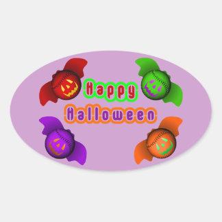 Colorful Halloween Baseball Bats Oval Sticker