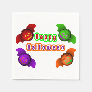 Colorful Halloween Baseball Bats Disposable Napkins