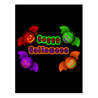 Colorful Halloween Baseball Bats Post Card