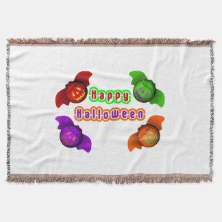Colorful Halloween Baseball Bats Throw Blanket