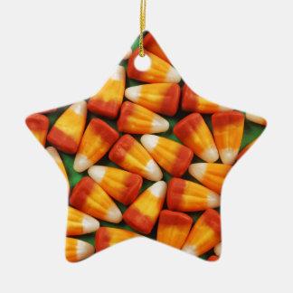 Colorful halloween candy corn print ceramic ornament