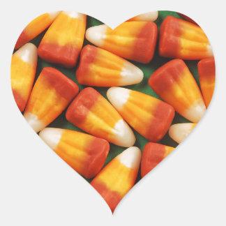 Colorful halloween candy corn print heart sticker
