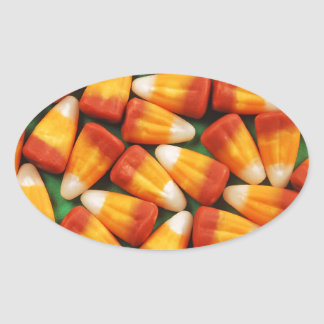 Colorful halloween candy corn print oval sticker
