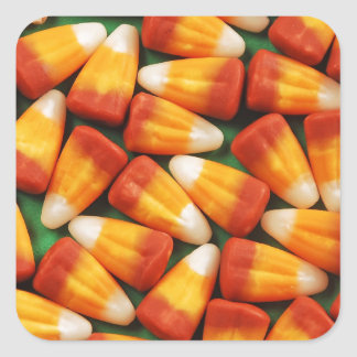 Colorful halloween candy corn print square sticker