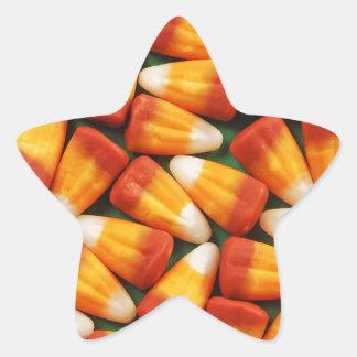 Colorful halloween candy corn print star sticker