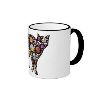 Colorful Halloween Cat Ringer Mug