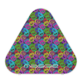 colorful halloween funny skulls with name bluetooth speaker