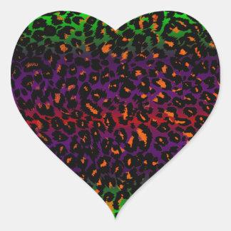 Colorful Halloween Leopard Spots Pattern Heart Sticker