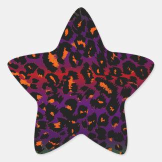 Colorful Halloween Leopard Spots Pattern Star Sticker