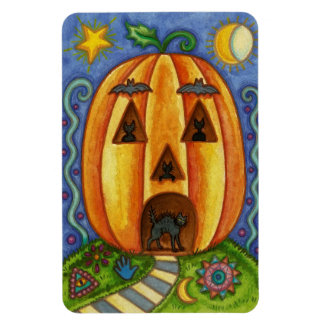Colorful Halloween Magnet with a Pumpkin and Cats
