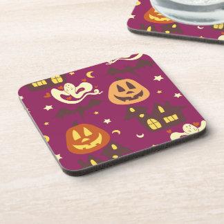 Colorful Halloween Pattern Beverage Coasters