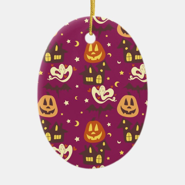 Colorful Halloween Pattern Ceramic Ornament