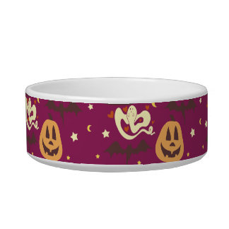 Colorful Halloween Pattern Cat Water Bowl
