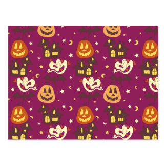 Colorful Halloween Pattern Postcard