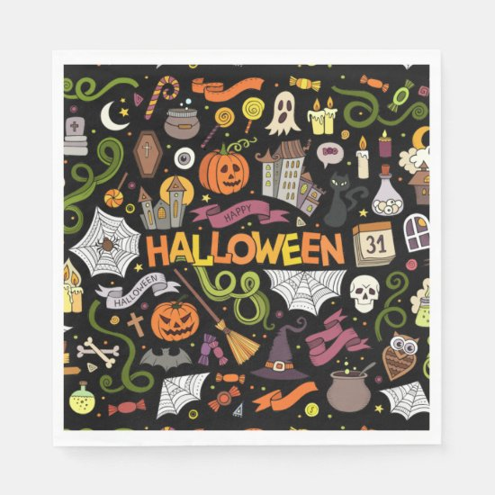 Colorful Halloween Theme Paper Napkins