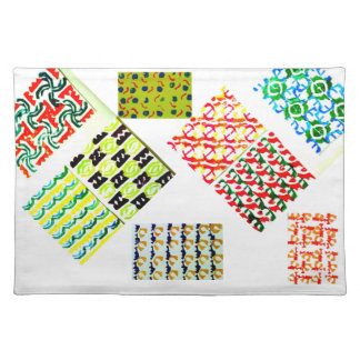 Colorful hand-carved stamp design in bright colors cloth placemat