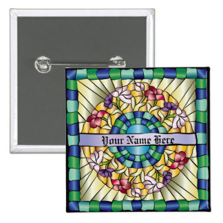 Colorful Hand-Drawn Jewel Stained Glass Flowers Pin