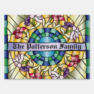 Colorful Hand-Drawn Jewel Stained Glass Flowers Lawn Signs