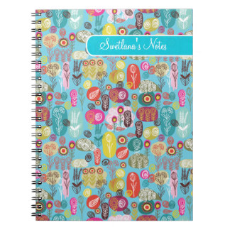 Colorful Hand Drawn Retro Flowers-Monogram Notebook