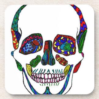 Colorful Hand Drawn Sugar Skull Mosaic Beverage Coasters