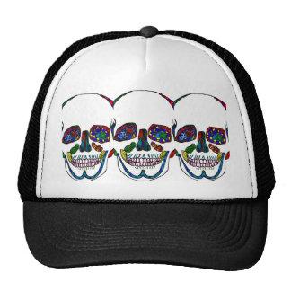 Colorful Hand Drawn Sugar Skull Mosaic Trucker Hat