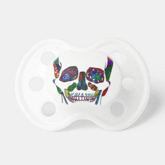 Colorful Hand Drawn Sugar Skull Mosaic BooginHead Pacifier